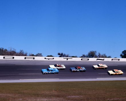 Richard Petty(43) Leads Cale Yarborough (No. 21), Mario Andretti (No. 11), Dick Hutcherson (No. 29) and Darel Dieringer (No. 26) at Daytona, 1967